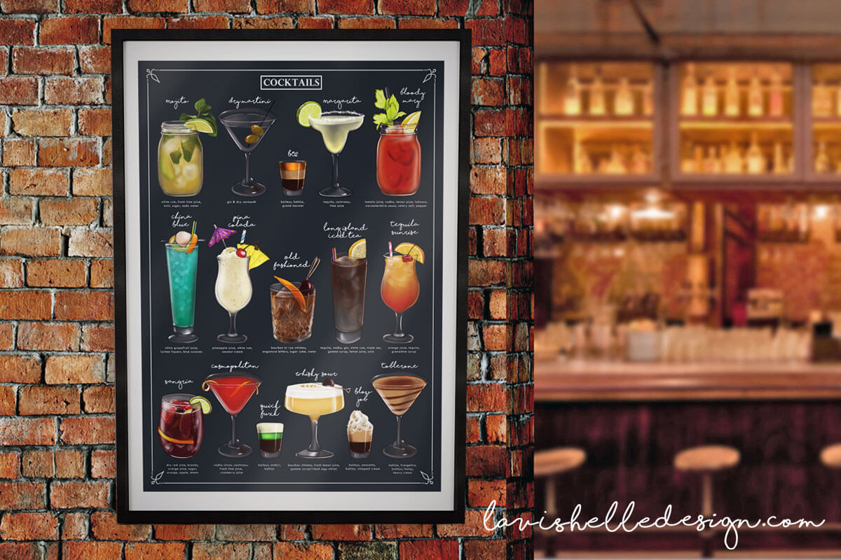 Cocktails poster design